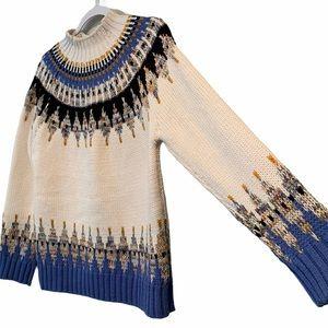 Cocobleu Cream & Blue Knit Ski Sweater, M